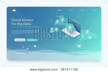 Isometric Modern Cloud Technology And Networking Concept. Cloud Storage Download Isometric Vector Il