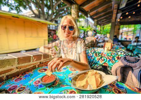 El Pueblo De Los Angeles, California, United States. Happy Tourist Woman Holding Margarita, Mexican