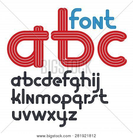 Set Of Vector Rounded Lower Case Funky Alphabet Letters Isolated With Parallel Lines, Can Be Used Fo