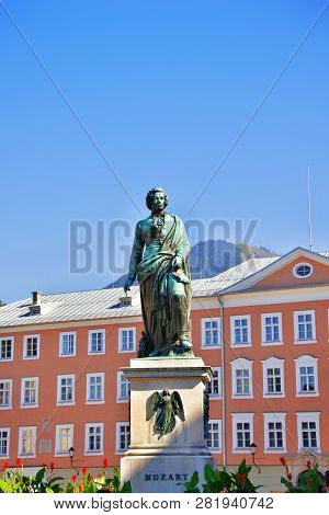 Salzburg, Austria - September 30, 2018: Wolfgang Amadeus Mozart Monument Statue On Mozart Square Moz
