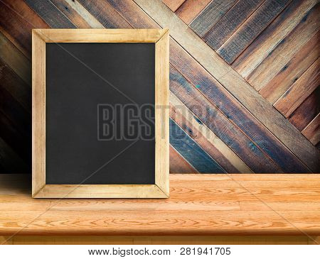 Blackboard On Plank Wooden Table Top At Diagonal Tropical Wood Wall,template Mock Up For Adding Your