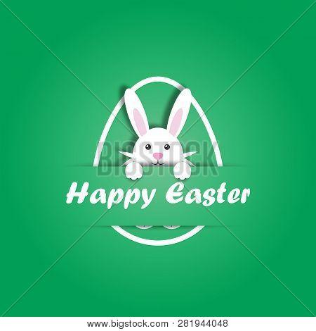 Vector Illustration Of Easter Bunny.easter Bunny Inside Easter Egg. Holiday Illustration