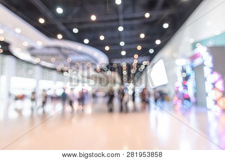 Exhibition Event Hall Blur Background Of Trade Show Business, World Or International Expo Showcase,