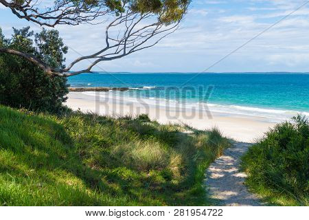Beach Water View In The City Of Huskisson, Nsw, Australia, A Small Coastal Town Well Known As Gatewa