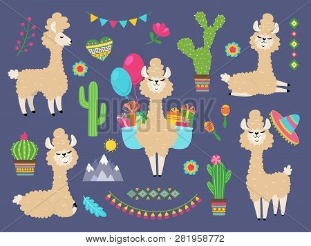 Cute Alpaca. Funny Cartoon Llama, Peru Baby Lamas And Cacti Flowers. Wild Alpacas Animals Vector Cha