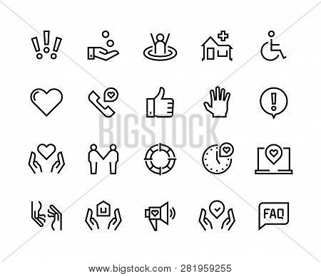 Help Line Icons. Support Health Care, Manual Faq Guide, Family Life Care Community Charity Donate. V