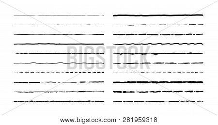 Hand Drawn Doodle Lines. Vintage Underline Border Elements, Cartoon Frame Set, Pencil Grunge Decorat