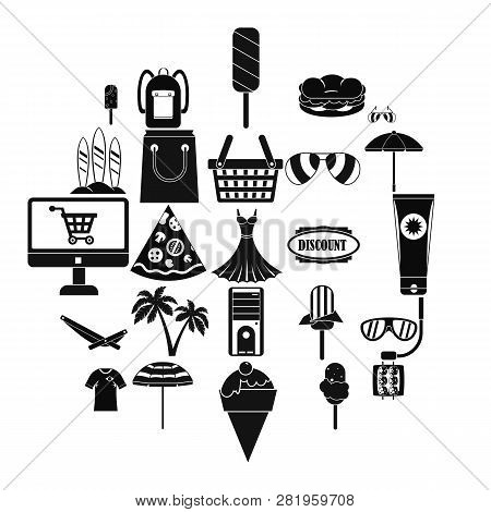 Shopping Tour Icons Set. Simple Set Of 25 Shopping Tour Icons For Web Isolated On White Background