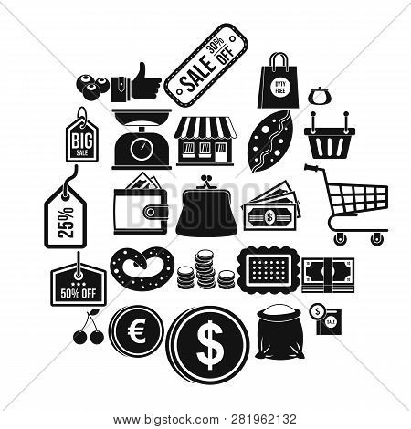 Buying In Store Icons Set. Simple Set Of 25 Buying In Store Icons For Web Isolated On White Backgrou