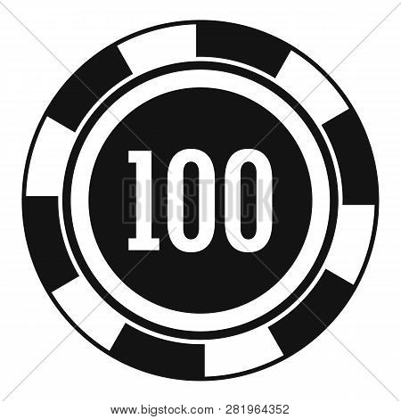 Casino Chip 100 Icon. Simple Illustration Of Casino Chip 100 Vector Icon For Web Design Isolated On