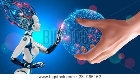 Artificial Intelligence Takes Control Of The Infrastructure Of Entire Planet. Man Stretches The Glob