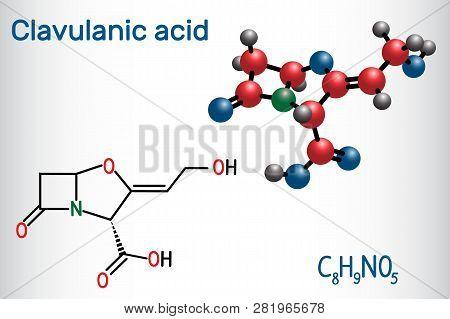 Clavulanic Acid β-lactam Drug Molecule. Structural Chemical Formula And Molecule Model. Vector Illus