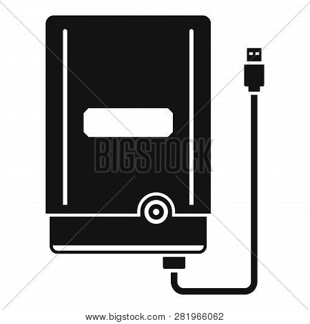 Portable Hard Disk Icon. Simple Illustration Of Portable Hard Disk Vector Icon For Web Design Isolat