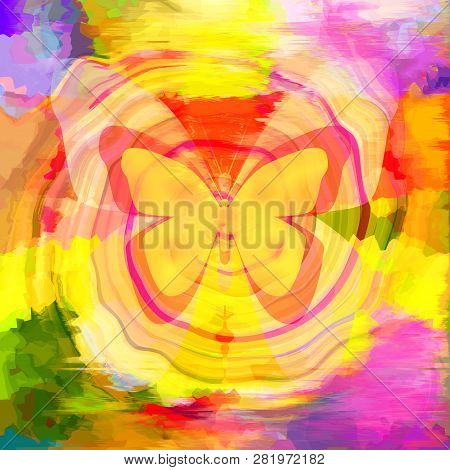 Abstract Colorful Painting Background With Bright Butterfly