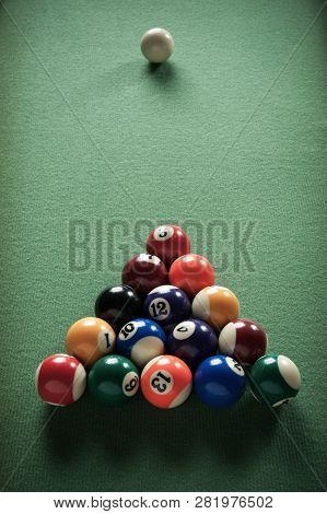Billiard Table With Green Material And Billiard Balls