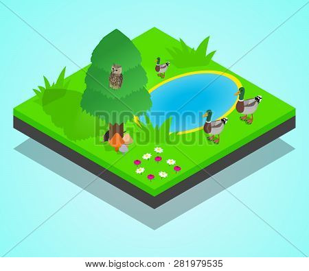 Pond Concept Banner. Isometric Banner Of Pond Vector Concept For Web, Giftcard And Postcard
