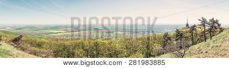 Panoramic View From Zobor Hill, Nitra, Slovak Republic. Springtime Natural Scene. Tourism Theme. Ret