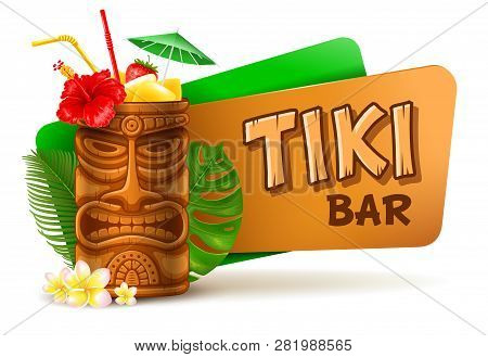 Refreshing Tropical Cold Tiki Drink Cocktail. Tiki Bar Label. Vector Illustration. Isolated On White