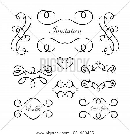 Vintage Vignettes And Flourishes, Set Of Calligraphic Scroll Elements In Retro Style, Swirly Embelli