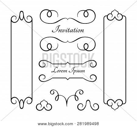 Vintage Frames And Flourishes, Set Of Swirly Decorative Design Elements In Retro Style, Set Of Scrol
