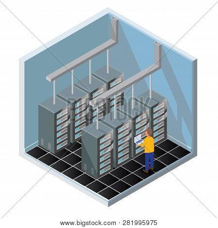 Isometric Vector Illustration Diagnostic Test In A Server Computer Room. Server Test In Room. Server