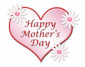 Large pink heart and daisy flowers with the greeting Happy Mother's Day poster