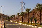 Empty multi-lane asphalt road between the mountains in Egypt. Sinai Peninsula of Egypt. poster