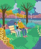 Grandfather with grandson sitting on bench in park and reading book. Vector illustration poster