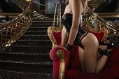 Sensual provocation of a sexy bdsm woman on an armchair poster