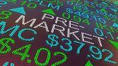 Pre-Market Stock Ticker Ahead Before Bell Open 3d Illustration poster