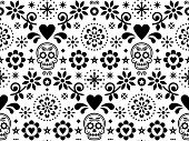 Sugar skull vector seamless pattern inspired by Mexican folk art, Dia de Los Muertos repetitive design black and white poster