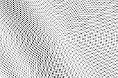 Black on white grunge halftone vector. Digital dotted texture. Small dotwork gradient for vintage effect. Monochrome halftone overlay for cartoon effect. Perforated background. Ink dotwork surface poster