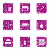 Gun icons set. Grunge set of 9 gun icons for web isolated on white background poster