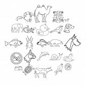 Darling icons set. Outline set of 25 darling vector icons for web isolated on white background poster