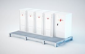 Modular And Portable White Battery Energy Storage System Installed On Support Construction. 3d Rende