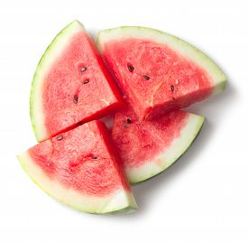 Heap Of Watermelon Slices Isolated On White Background