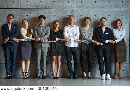 Multiethnic Business People Group Team Portrait Cooperation Success Concept, Businesspeople Holding