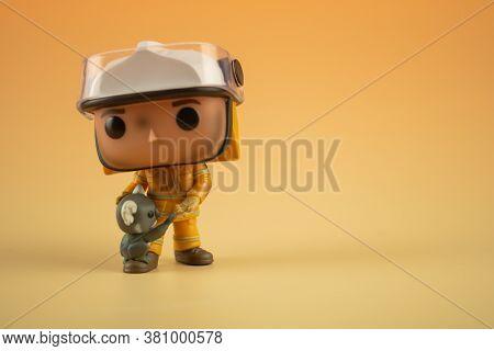 Bangkok, Thailand - August 16, 2020 : Funko Pop Figure Popcultcha Exclusive Bushfire Heroes Firefigh