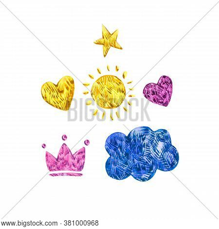Cute Yellow Watercolor Clouds With Rain And Crown, Sun, Star, Heart. Set Of Watercolor Objects Isola