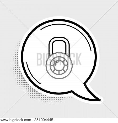 Line Safe Combination Lock Wheel Icon Isolated On Grey Background. Combination Padlock. Security, Sa