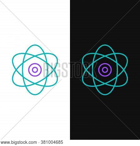 Line Atom Icon Isolated On White And Black Background. Symbol Of Science, Education, Nuclear Physics