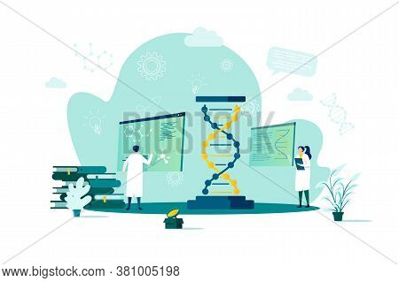 Biotechnology Concept In Flat Style. Scientists In Laboratory Scene. Science Research, Dna Sequence