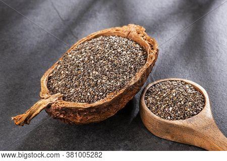 Organic Chia Seeds In The Organic Bowl - Salvia Hispanica