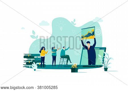 Coaching Concept In Flat Style. Business Coach Making Presentation Scene. Consultation And Assistanc