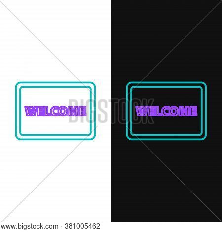 Line Doormat With The Text Welcome Icon Isolated On White And Black Background. Welcome Mat Sign. Co