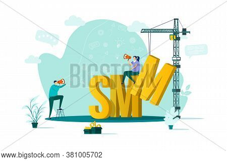 Smm Concept In Flat Style. Marketer Announce In Megaphone Scene. Digital Marketing Campaign, Announc