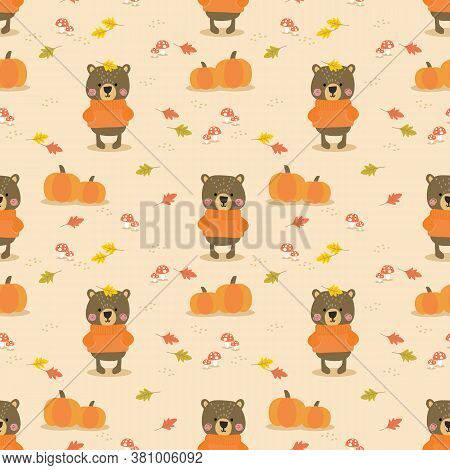 Cute Bear And Pumpkin In Autumn Seamless Pattern