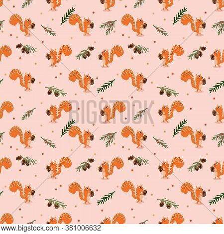 Cute Squirrel And Autumn Seamless Pattern. Autumn Theme