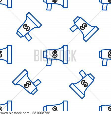 Line Megaphone And Dollar Icon Isolated Seamless Pattern On White Background. Loud Speach Alert Conc
