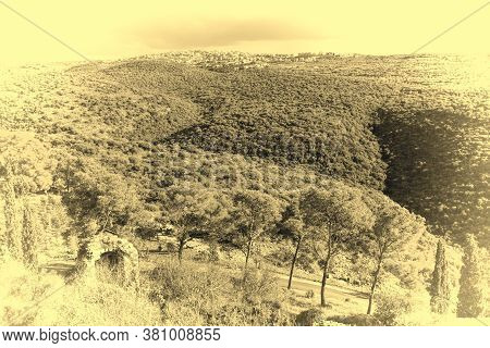 Galilee Mountains Arab Settlement In Israel. Panorama Of Galilee- The Northern District Of Israel. V